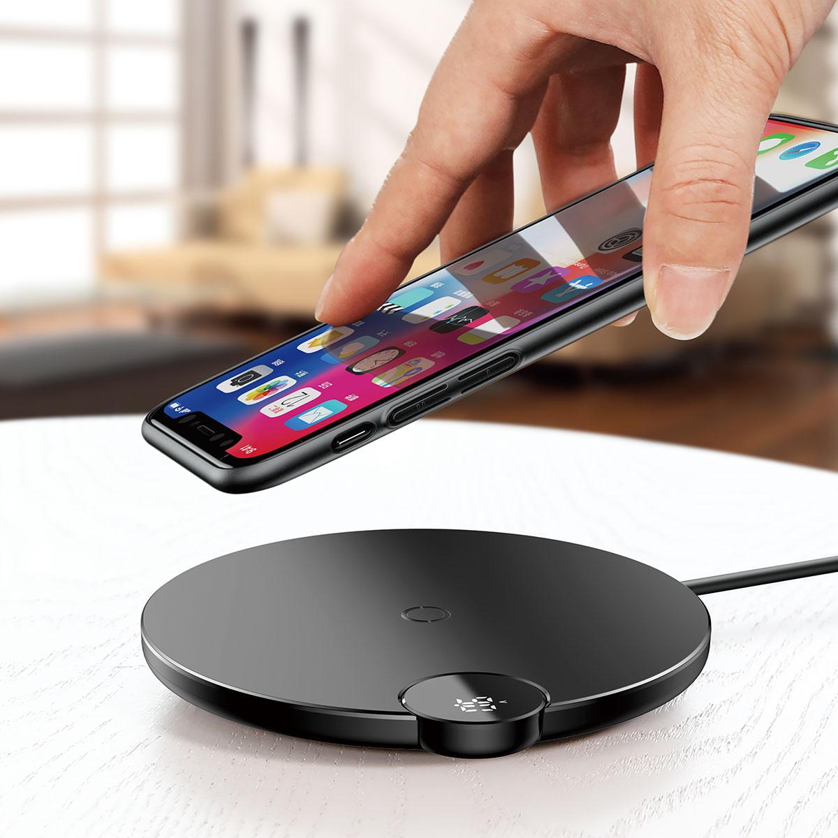 Беспроводное зарядное устройство Baseus Digtal LED Display Wireless Charger